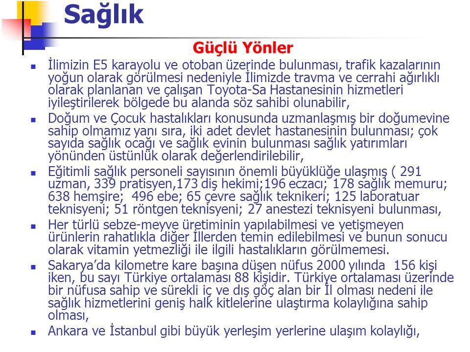 Güçlü Yönler Gerek orta anadolu ve gerekse batı ve güney anadolunu, ülkenin sosyo ekonomik merkezi olan İstanbul'a bağlayan kavşakta yer alması Sakarya Nehrinin ulaşım yönünden bölgeye kazandıracağı yeni aktiviteler Kentleşme