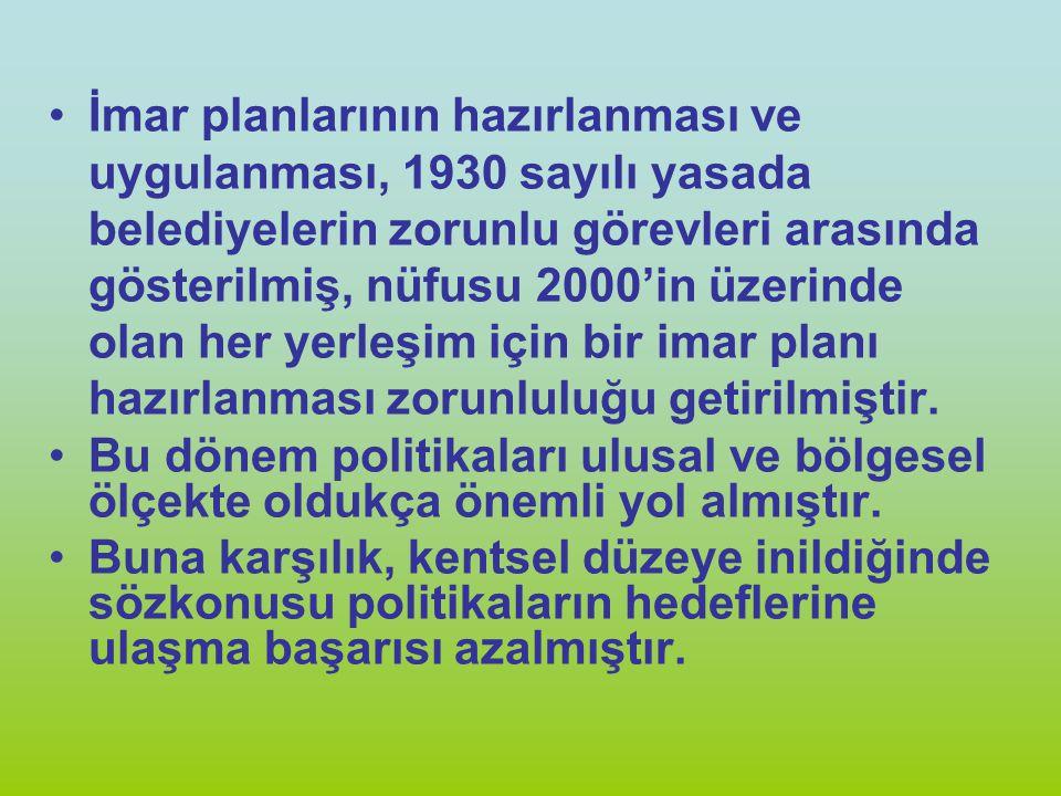 İmar planlarının hazırlanması ve uygulanması, 1930 sayılı yasada belediyelerin zorunlu görevleri arasında gösterilmiş, nüfusu 2000'in üzerinde olan he