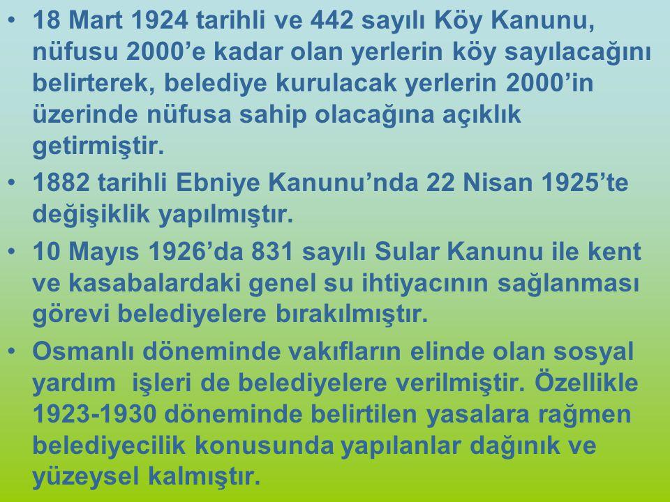 18 Mart 1924 tarihli ve 442 sayılı Köy Kanunu, nüfusu 2000'e kadar olan yerlerin köy sayılacağını belirterek, belediye kurulacak yerlerin 2000'in üzer