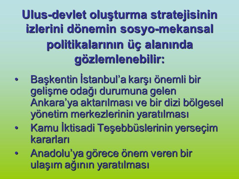 Ulus-devlet oluşturma stratejisinin izlerini dönemin sosyo-mekansal politikalarının üç alanında gözlemlenebilir: Başkentin İstanbul'a karşı önemli bir