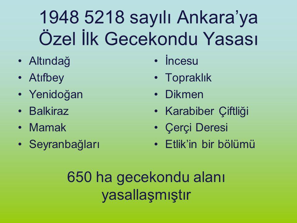 1948 5218 sayılı Ankara'ya Özel İlk Gecekondu Yasası Altındağ Atıfbey Yenidoğan Balkiraz Mamak Seyranbağları İncesu Topraklık Dikmen Karabiber Çiftliğ
