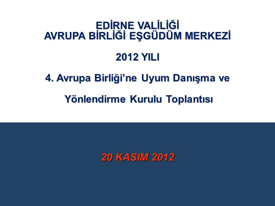 20 KASIM 2012 EDİRNE VALİLİĞİ AVRUPA BİRLİĞİ EŞGÜDÜM MERKEZİ 2012 YILI 4. Avrupa Birliği'ne Uyum Danışma ve Yönlendirme Kurulu Toplantısı Yönlendirme