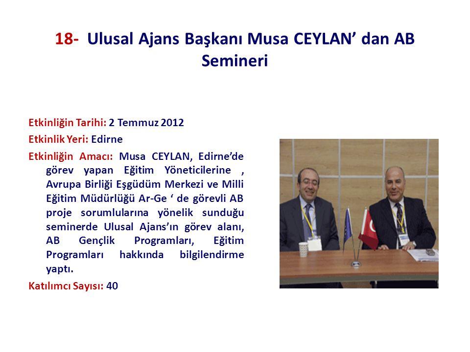 18- Ulusal Ajans Başkanı Musa CEYLAN' dan AB Semineri Etkinliğin Tarihi: 2 Temmuz 2012 Etkinlik Yeri: Edirne Etkinliğin Amacı: Musa CEYLAN, Edirne'de
