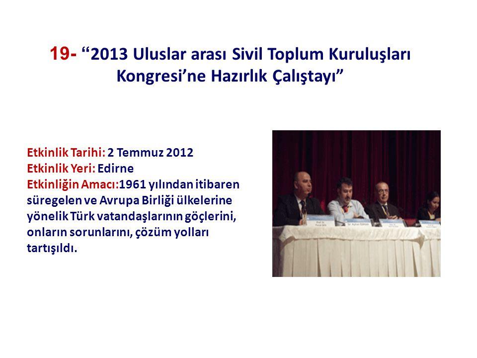 Etkinlik Tarihi: 2 Temmuz 2012 Etkinlik Yeri: Edirne Etkinliğin Amacı:1961 yılından itibaren süregelen ve Avrupa Birliği ülkelerine yönelik Türk vatandaşlarının göçlerini, onların sorunlarını, çözüm yolları tartışıldı.