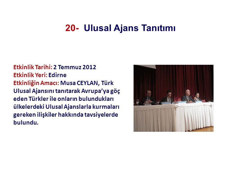Etkinlik Tarihi: 2 Temmuz 2012 Etkinlik Yeri: Edirne Etkinliğin Amacı: Musa CEYLAN, Türk Ulusal Ajansını tanıtarak Avrupa'ya göç eden Türkler ile onla