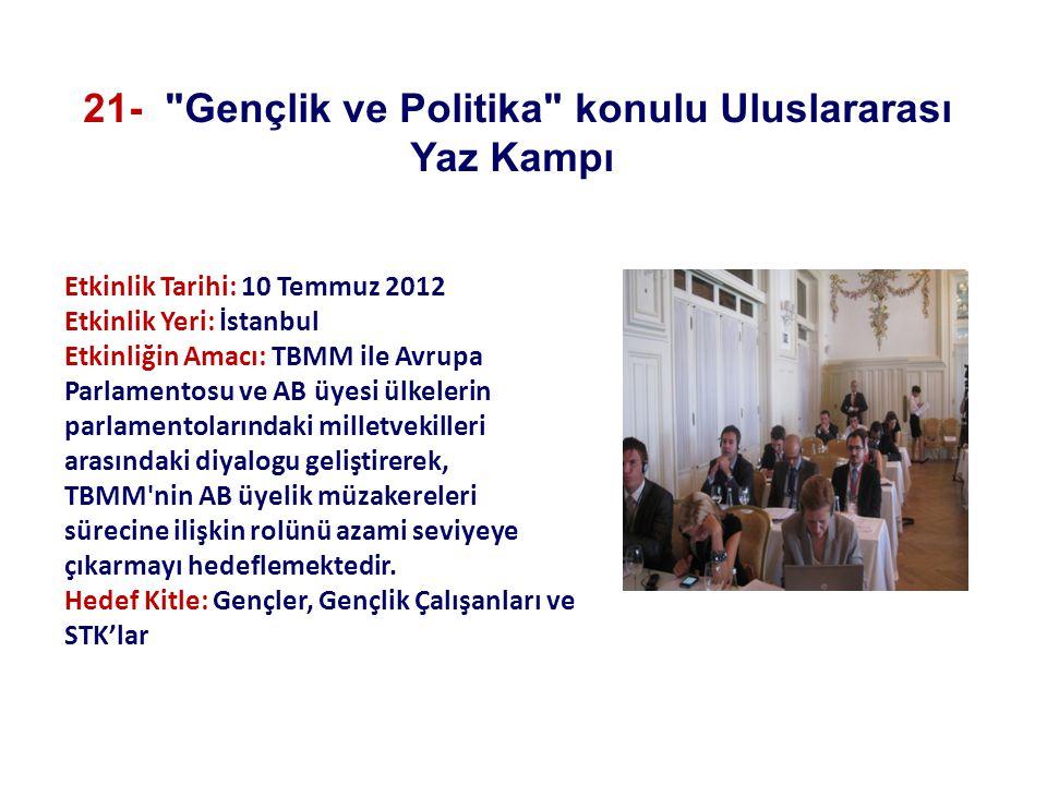 Etkinlik Tarihi: 10 Temmuz 2012 Etkinlik Yeri: İstanbul Etkinliğin Amacı: TBMM ile Avrupa Parlamentosu ve AB üyesi ülkelerin parlamentolarındaki milletvekilleri arasındaki diyalogu geliştirerek, TBMM nin AB üyelik müzakereleri sürecine ilişkin rolünü azami seviyeye çıkarmayı hedeflemektedir.