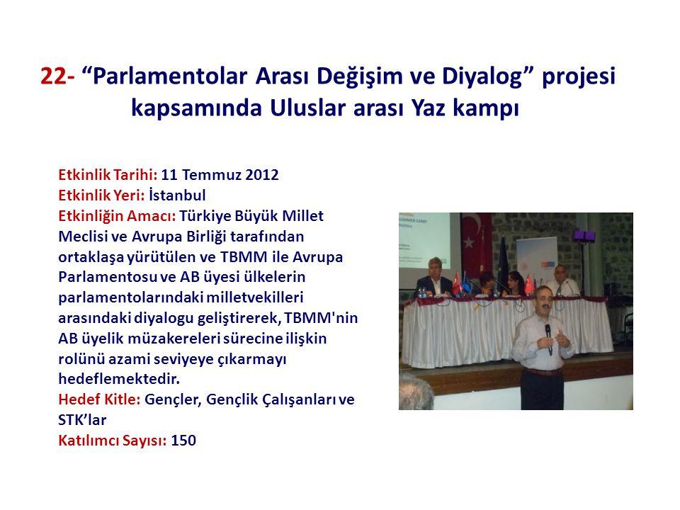 Etkinlik Tarihi: 11 Temmuz 2012 Etkinlik Yeri: İstanbul Etkinliğin Amacı: Türkiye Büyük Millet Meclisi ve Avrupa Birliği tarafından ortaklaşa yürütülen ve TBMM ile Avrupa Parlamentosu ve AB üyesi ülkelerin parlamentolarındaki milletvekilleri arasındaki diyalogu geliştirerek, TBMM nin AB üyelik müzakereleri sürecine ilişkin rolünü azami seviyeye çıkarmayı hedeflemektedir.