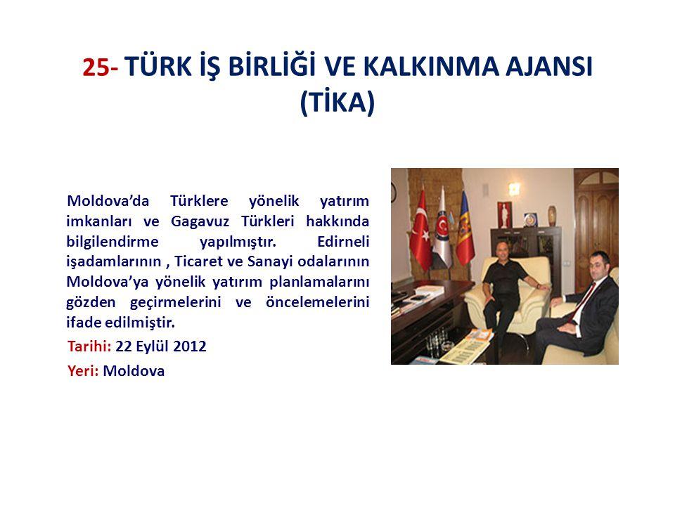 25- TÜRK İŞ BİRLİĞİ VE KALKINMA AJANSI (TİKA) Moldova'da Türklere yönelik yatırım imkanları ve Gagavuz Türkleri hakkında bilgilendirme yapılmıştır. Ed