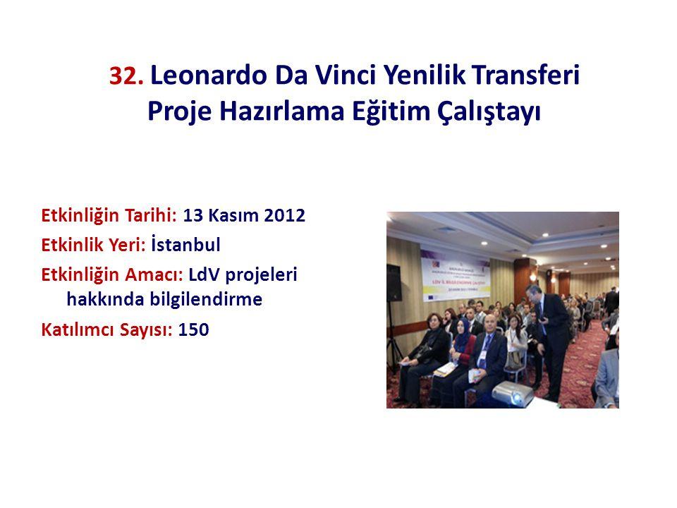 32. Leonardo Da Vinci Yenilik Transferi Proje Hazırlama Eğitim Çalıştayı Etkinliğin Tarihi: 13 Kasım 2012 Etkinlik Yeri: İstanbul Etkinliğin Amacı: Ld