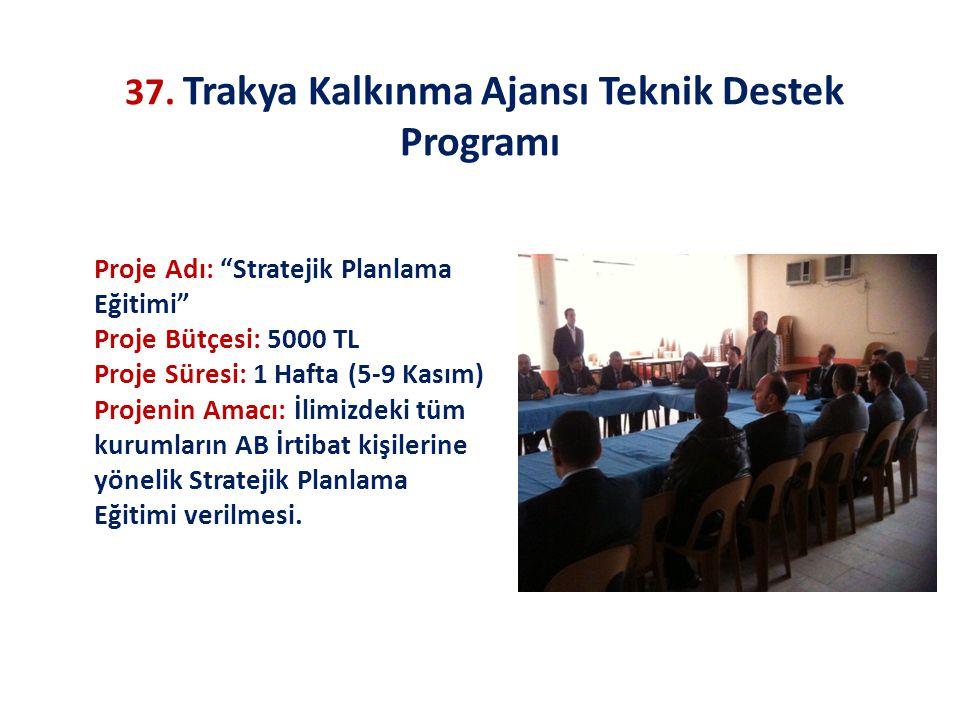 """37. Trakya Kalkınma Ajansı Teknik Destek Programı Proje Adı: """"Stratejik Planlama Eğitimi"""" Proje Bütçesi: 5000 TL Proje Süresi: 1 Hafta (5-9 Kasım) Pro"""