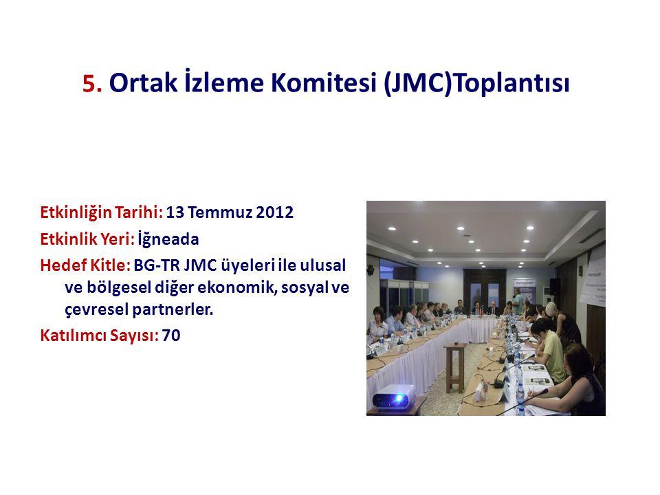 5. Ortak İzleme Komitesi (JMC)Toplantısı Etkinliğin Tarihi: 13 Temmuz 2012 Etkinlik Yeri: İğneada Hedef Kitle: BG-TR JMC üyeleri ile ulusal ve bölgese