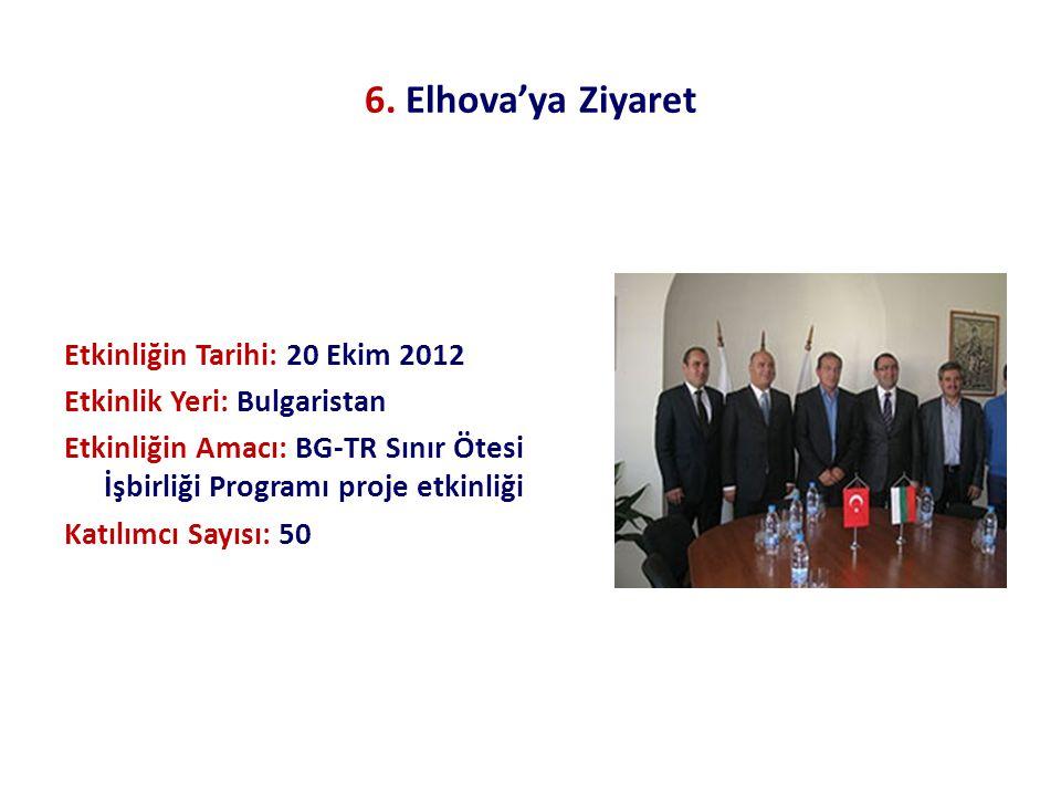 6. Elhova'ya Ziyaret Etkinliğin Tarihi: 20 Ekim 2012 Etkinlik Yeri: Bulgaristan Etkinliğin Amacı: BG-TR Sınır Ötesi İşbirliği Programı proje etkinliği