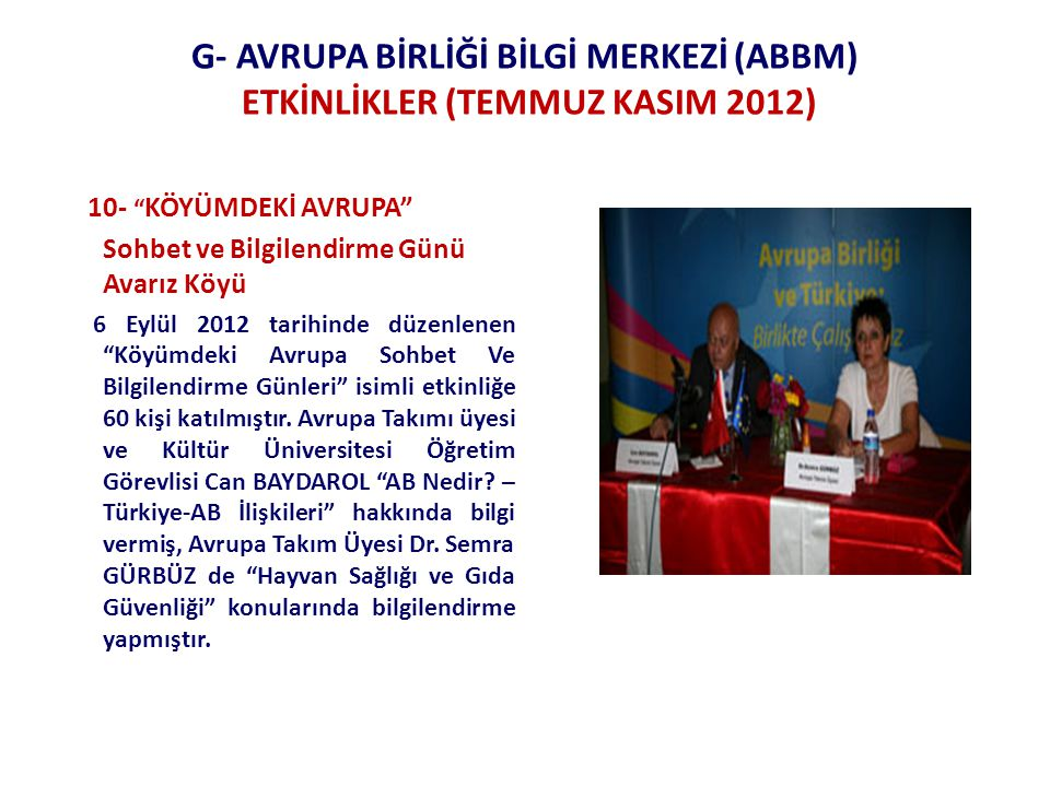 G- AVRUPA BİRLİĞİ BİLGİ MERKEZİ (ABBM) ETKİNLİKLER (TEMMUZ KASIM 2012) 10- KÖYÜMDEKİ AVRUPA Sohbet ve Bilgilendirme Günü Avarız Köyü 6 Eylül 2012 tarihinde düzenlenen Köyümdeki Avrupa Sohbet Ve Bilgilendirme Günleri isimli etkinliğe 60 kişi katılmıştır.