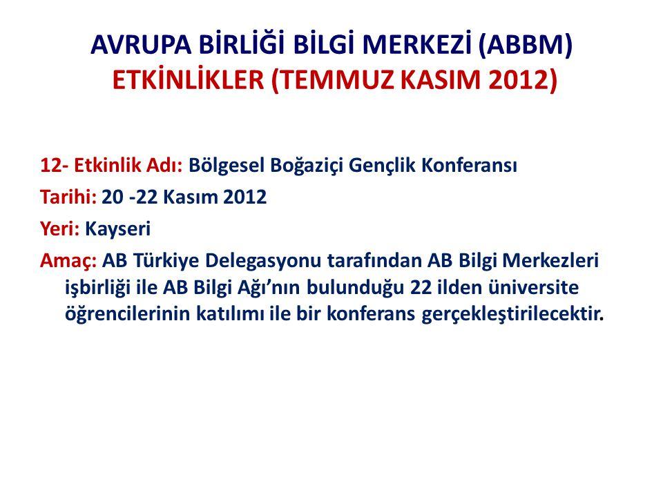 AVRUPA BİRLİĞİ BİLGİ MERKEZİ (ABBM) ETKİNLİKLER (TEMMUZ KASIM 2012) 12- Etkinlik Adı: Bölgesel Boğaziçi Gençlik Konferansı Tarihi: 20 -22 Kasım 2012 Yeri: Kayseri Amaç: AB Türkiye Delegasyonu tarafından AB Bilgi Merkezleri işbirliği ile AB Bilgi Ağı'nın bulunduğu 22 ilden üniversite öğrencilerinin katılımı ile bir konferans gerçekleştirilecektir.