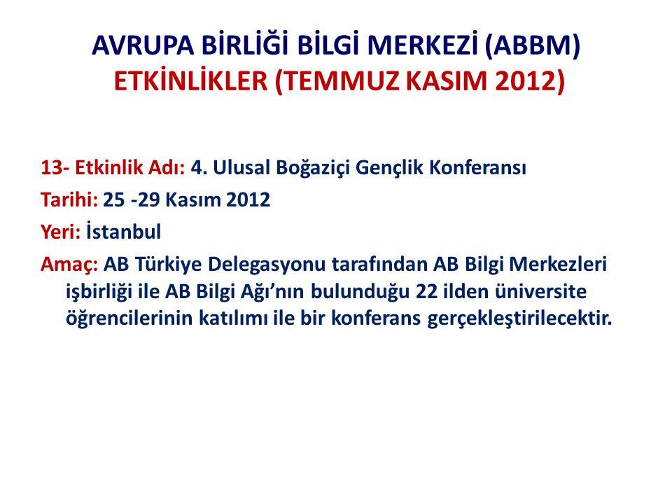 AVRUPA BİRLİĞİ BİLGİ MERKEZİ (ABBM) ETKİNLİKLER (TEMMUZ KASIM 2012) 13- Etkinlik Adı: 4.