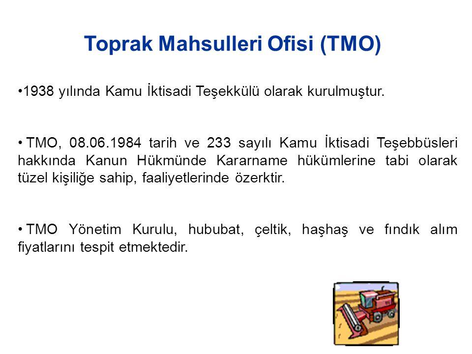 1938 yılında Kamu İktisadi Teşekkülü olarak kurulmuştur. TMO, 08.06.1984 tarih ve 233 sayılı Kamu İktisadi Teşebbüsleri hakkında Kanun Hükmünde Kararn