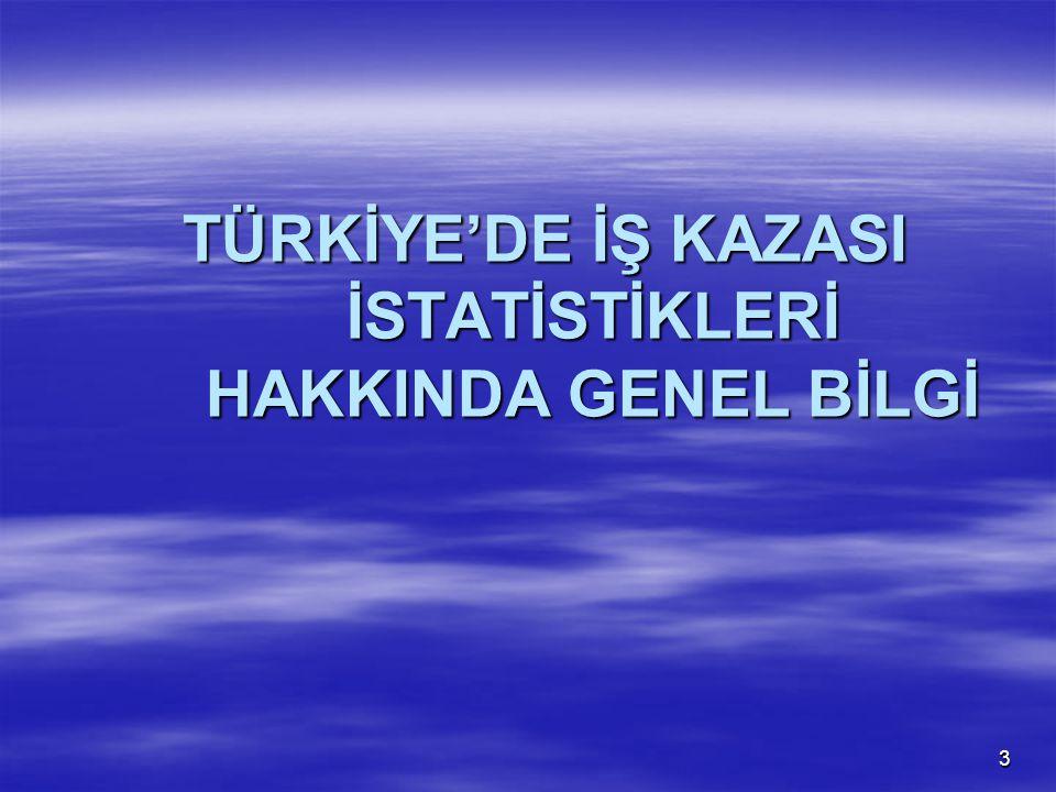 3 TÜRKİYE'DE İŞ KAZASI İSTATİSTİKLERİ HAKKINDA GENEL BİLGİ