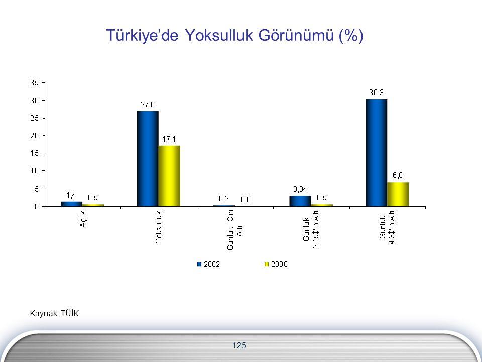125 Türkiye'de Yoksulluk Görünümü (%) Kaynak: TÜİK