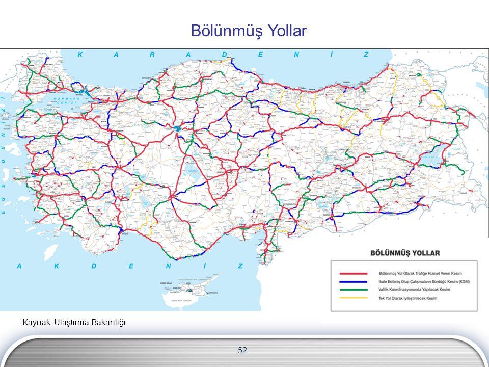 52 Bölünmüş Yollar Kaynak: Ulaştırma Bakanlığı