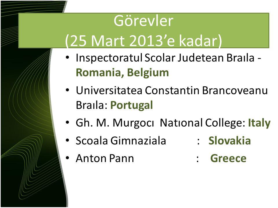 Inspectoratul Scolar Judetean Braıla - Romania, Belgium Universitatea Constantin Brancoveanu Braıla: Portugal Gh.