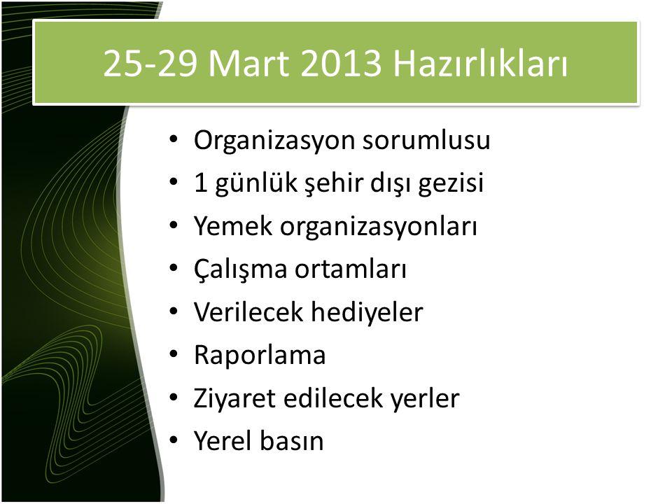 25-29 Mart 2013 Hazırlıkları Organizasyon sorumlusu 1 günlük şehir dışı gezisi Yemek organizasyonları Çalışma ortamları Verilecek hediyeler Raporlama Ziyaret edilecek yerler Yerel basın