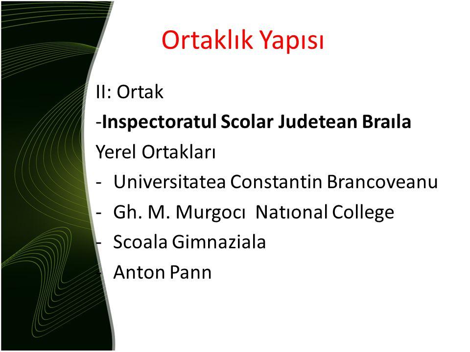 II: Ortak -Inspectoratul Scolar Judetean Braıla Yerel Ortakları -Universitatea Constantin Brancoveanu -Gh.