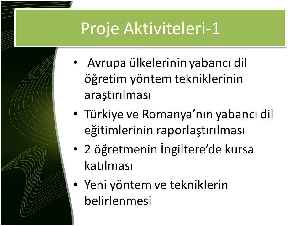 Proje Aktiviteleri-1 Avrupa ülkelerinin yabancı dil öğretim yöntem tekniklerinin araştırılması Türkiye ve Romanya'nın yabancı dil eğitimlerinin raporlaştırılması 2 öğretmenin İngiltere'de kursa katılması Yeni yöntem ve tekniklerin belirlenmesi