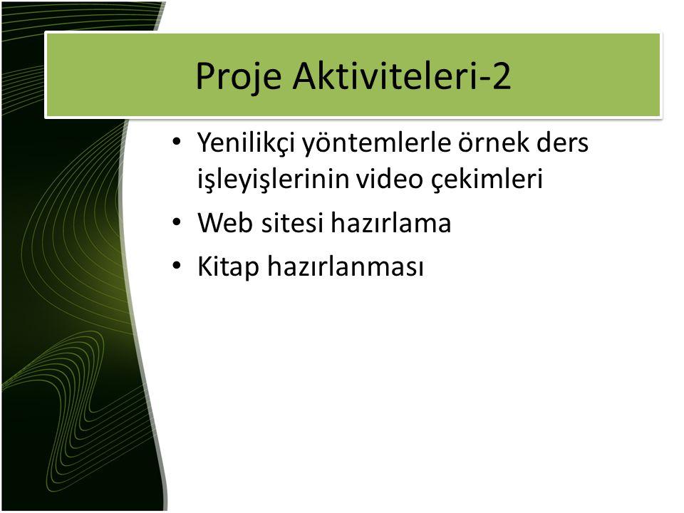 Yenilikçi yöntemlerle örnek ders işleyişlerinin video çekimleri Web sitesi hazırlama Kitap hazırlanması Proje Aktiviteleri-2