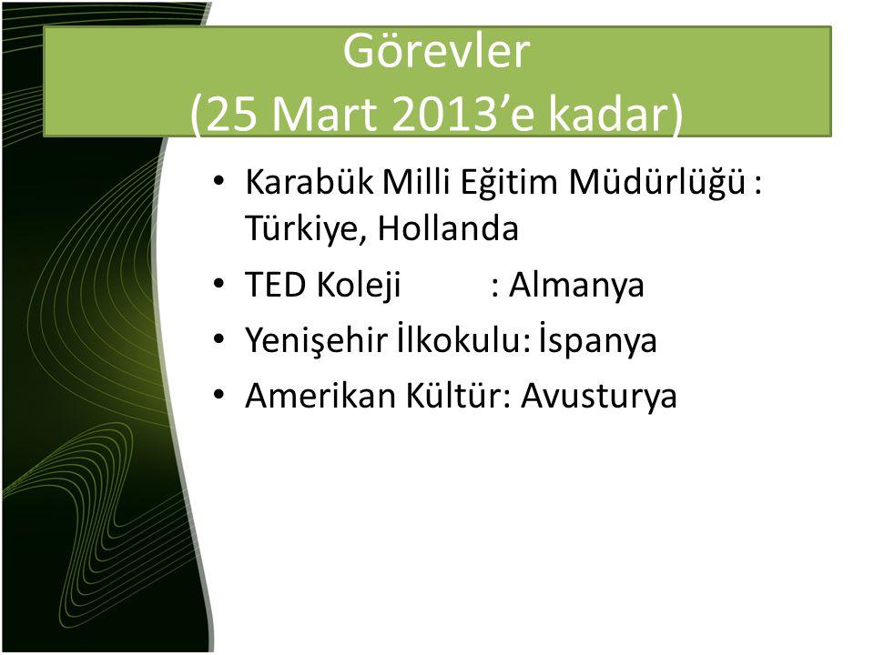 Görevler (25 Mart 2013'e kadar) Karabük Milli Eğitim Müdürlüğü : Türkiye, Hollanda TED Koleji : Almanya Yenişehir İlkokulu: İspanya Amerikan Kültür: Avusturya