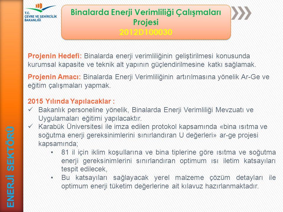 Binalarda Enerji Verimliliğinin Artırılması Projesi - IPA 2011 (AB)1 2015D000020 Binalarda Enerji Verimliliğinin Artırılması Projesi - IPA 2011 (AB)1 2015D000020 ENERJİ SEKTÖRÜ Projenin Hedefi: Ülkemiz iklim değişikliğine ve enerji tedarik güvenliğine olumlu katkı yapabilmek için enerji verimliliğini arttırmak.