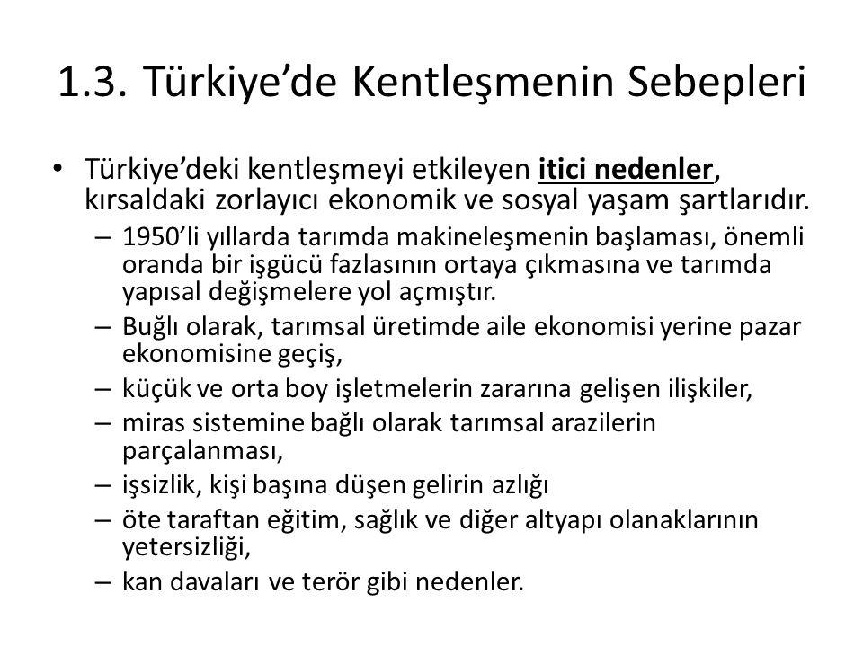 1.3.Türkiye'de Kentleşmenin Sebepleri Türkiye'deki kentleşmeyi etkileyen itici nedenler, kırsaldaki zorlayıcı ekonomik ve sosyal yaşam şartlarıdır. –