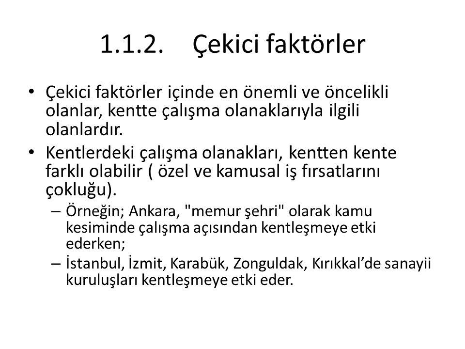 1.3.Türkiye'de Kentleşmenin Sebepleri Çekici nedenler ise kentin sunduğu ekonomik, sosyal, kültürel, eğitsel ve sağlık olanaklarıyla ilgilidir.