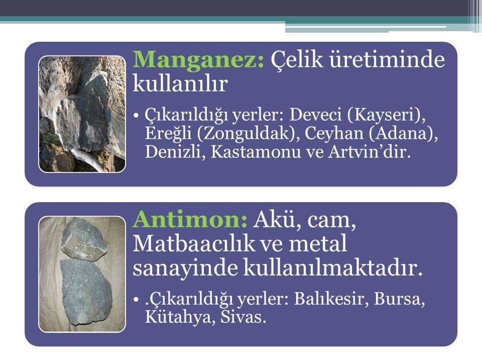 Manganez: Çelik üretiminde kullanılır Çıkarıldığı yerler: Deveci (Kayseri), Ereğli (Zonguldak), Ceyhan (Adana), Denizli, Kastamonu ve Artvin'dir. Anti