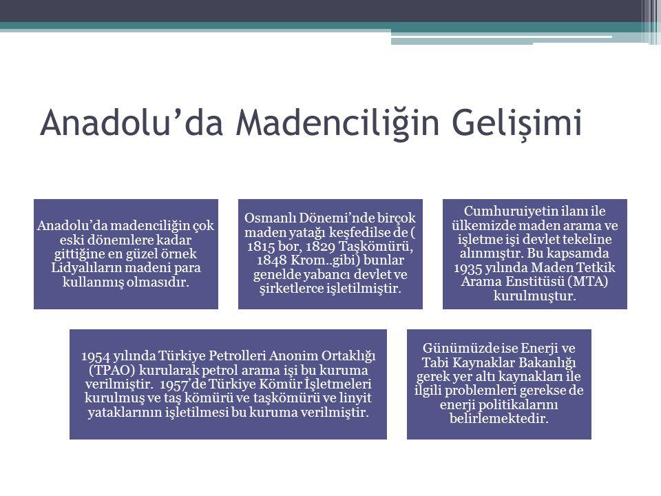 Türkiye'de Madencilik Türkiye'de tüm jeolojik devrilere ait araziler bulunması yer altı kaynağı çeşitleri bakımından zengin bir ülke olmasını sağlamıştır.