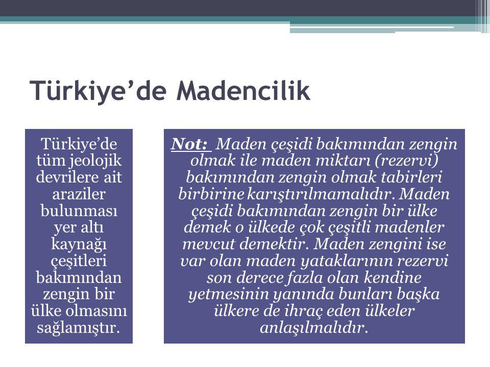 Türkiye'de Madencilik Türkiye'de tüm jeolojik devrilere ait araziler bulunması yer altı kaynağı çeşitleri bakımından zengin bir ülke olmasını sağlamış