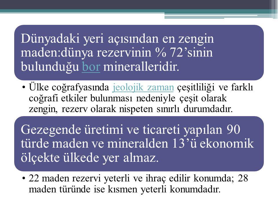 Manganez: Çelik üretiminde kullanılır Çıkarıldığı yerler: Deveci (Kayseri), Ereğli (Zonguldak), Ceyhan (Adana), Denizli, Kastamonu ve Artvin'dir.