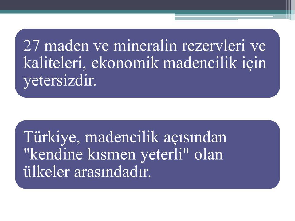 Türkiye nin kendine yeten ve ayrıca dışsatıma konu olan endüstriyel hammaddeleri: mermer, doğal taşlar, bor tuzları, feldspat, çimento hammaddeleri… Yeterli rezerv olup da değerlendirilmeyenler Trona, Asbest, Fluorit, Disten, Diyatomit, Zeolit, Olivin, Sepiolit, Vermikülit, Alunit Normal ölçüde, ihtiyaca bağlı olarak işletilenler Kil, Halloysit, Nefelinsiyenit, Tras, Yapı Taşları, Kalker- marn, Kum- Çakıl, Tuğla Topraklar