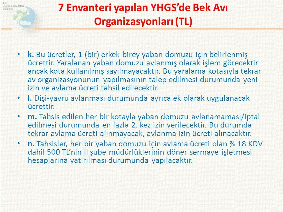 7 Envanteri yapılan YHGS'de Bek Avı Organizasyonları (TL) k. Bu ücretler, 1 (bir) erkek birey yaban domuzu için belirlenmiş ücrettir. Yaralanan yaban
