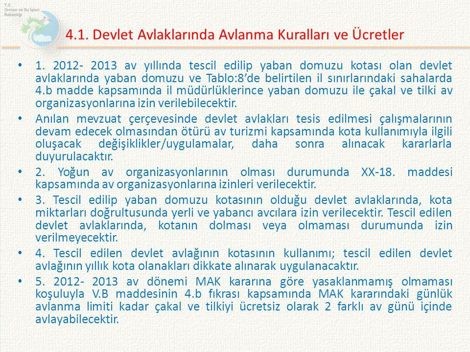 4.1. Devlet Avlaklarında Avlanma Kuralları ve Ücretler 1. 2012- 2013 av yıllında tescil edilip yaban domuzu kotası olan devlet avlaklarında yaban domu
