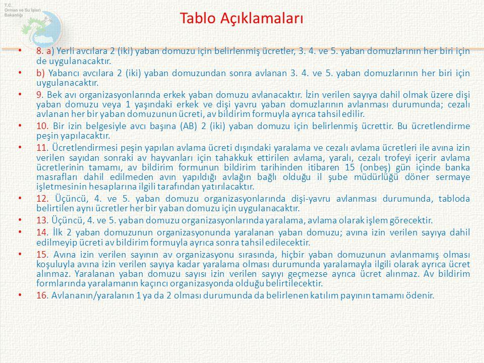 Tablo Açıklamaları 8. a) Yerli avcılara 2 (iki) yaban domuzu için belirlenmiş ücretler, 3. 4. ve 5. yaban domuzlarının her biri için de uygulanacaktır