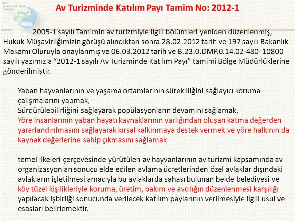 2005-1 sayılı Tamimin av turizmiyle ilgili bölümleri yeniden düzenlenmiş, Hukuk Müşavirliğimizin görüşü alındıktan sonra 28.02.2012 tarih ve 197 sayıl