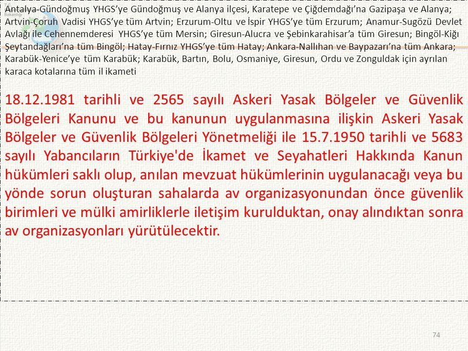 74 Antalya-Gündoğmuş YHGS'ye Gündoğmuş ve Alanya ilçesi, Karatepe ve Çiğdemdağı'na Gazipaşa ve Alanya; Artvin-Çoruh Vadisi YHGS'ye tüm Artvin; Erzurum