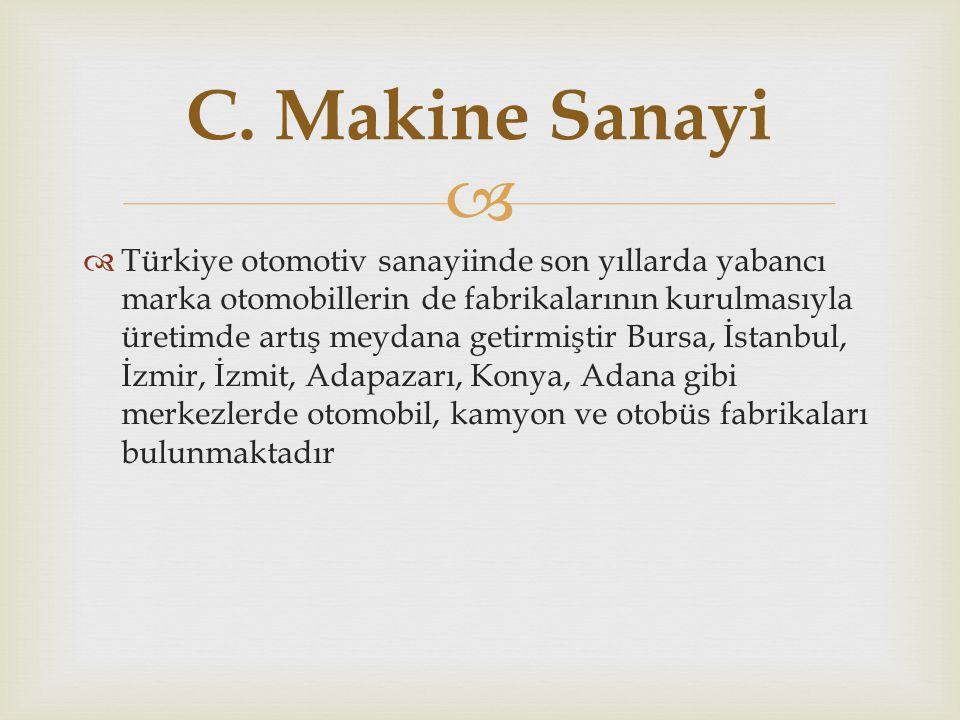   Türkiye otomotiv sanayiinde son yıllarda yabancı marka otomobillerin de fabrikalarının kurulmasıyla üretimde artış meydana getirmiştir Bursa, İsta