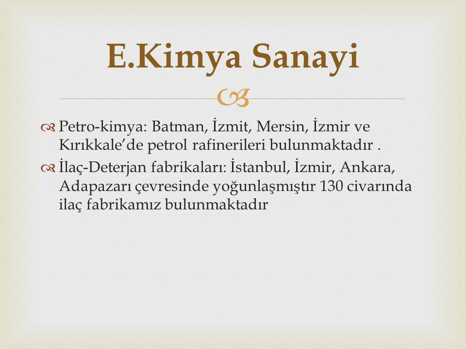   Petro-kimya: Batman, İzmit, Mersin, İzmir ve Kırıkkale'de petrol rafinerileri bulunmaktadır.  İlaç-Deterjan fabrikaları: İstanbul, İzmir, Ankara,