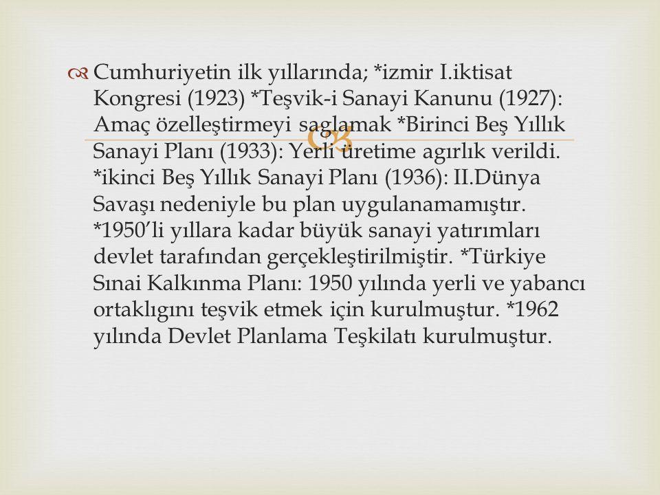   Cumhuriyetin ilk yıllarında; *izmir I.iktisat Kongresi (1923) *Teşvik-i Sanayi Kanunu (1927): Amaç özelleştirmeyi saglamak *Birinci Beş Yıllık San