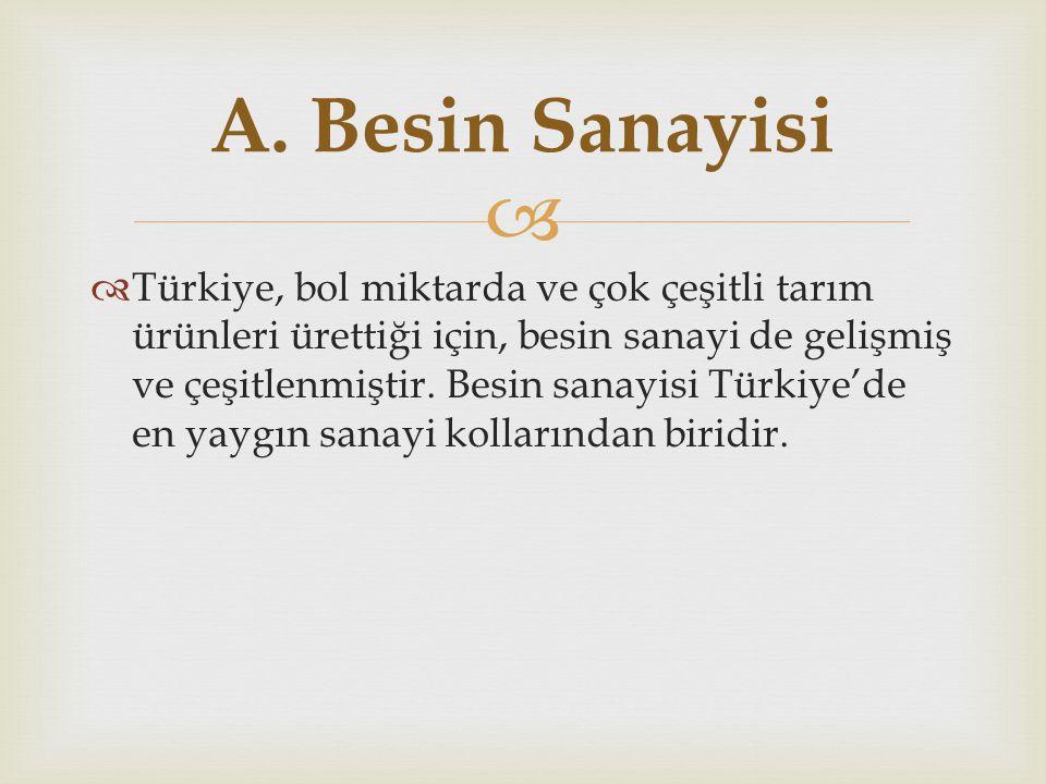   Türkiye, bol miktarda ve çok çeşitli tarım ürünleri ürettiği için, besin sanayi de gelişmiş ve çeşitlenmiştir. Besin sanayisi Türkiye'de en yaygın