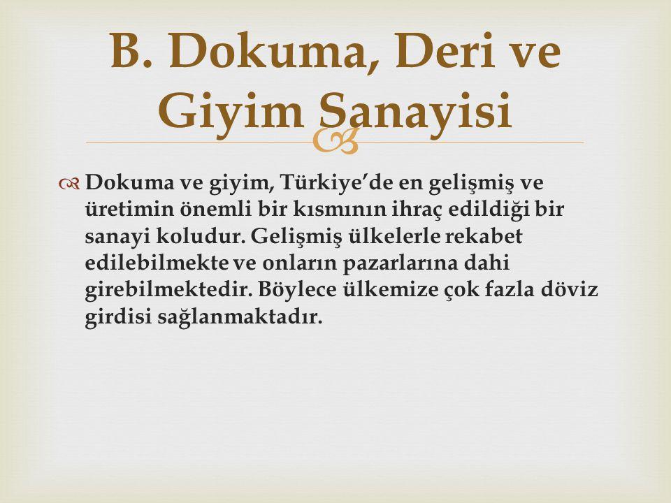   Dokuma ve giyim, Türkiye'de en gelişmiş ve üretimin önemli bir kısmının ihraç edildiği bir sanayi koludur. Gelişmiş ülkelerle rekabet edilebilmekt