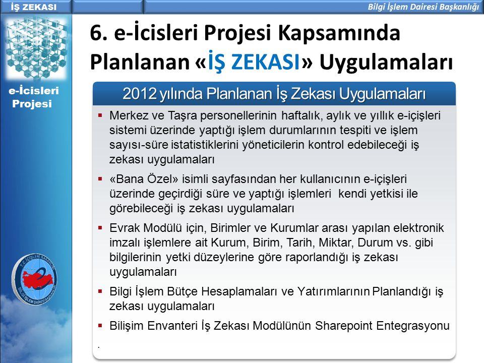 e-İcisleri Projesi 6. e-İcisleri Projesi Kapsamında Planlanan «İŞ ZEKASI» Uygulamaları  Merkez ve Taşra personellerinin haftalık, aylık ve yıllık e-i
