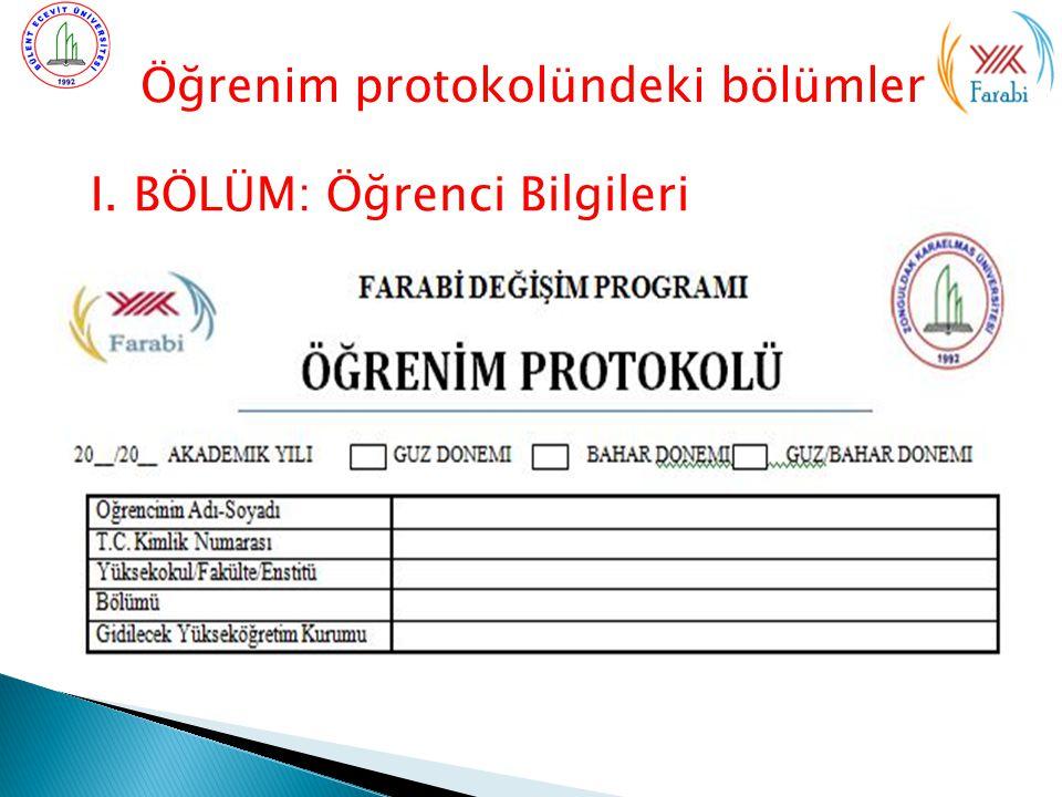Öğrenim protokolündeki bölümler I. BÖLÜM: Öğrenci Bilgileri