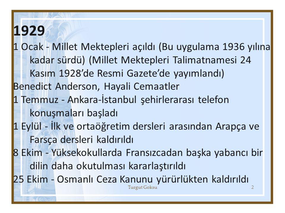 1929 1 Ocak - Millet Mektepleri açıldı (Bu uygulama 1936 yılına kadar sürdü) (Millet Mektepleri Talimatnamesi 24 Kasım 1928'de Resmi Gazete'de yayımla